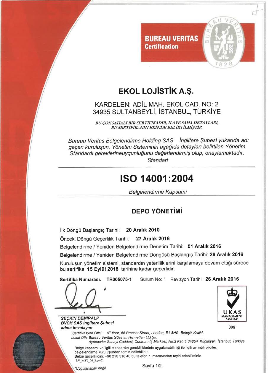 Çevre Sistem Belgesi ISO 14001:2004 Sayfa 1/2