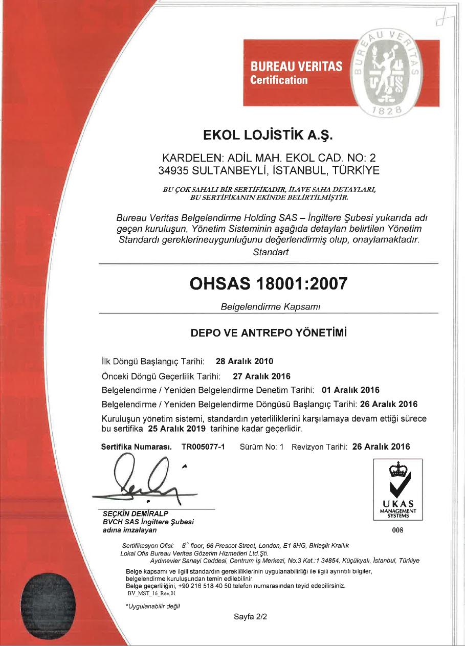 İş Sağlığı ve Güvenliği Yönetim Sistem Belgesi OHSAS 18001:2007 Sayfa 1/2