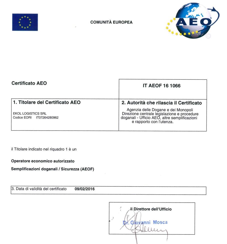 Ekol Macaristan AEO Sertifikası