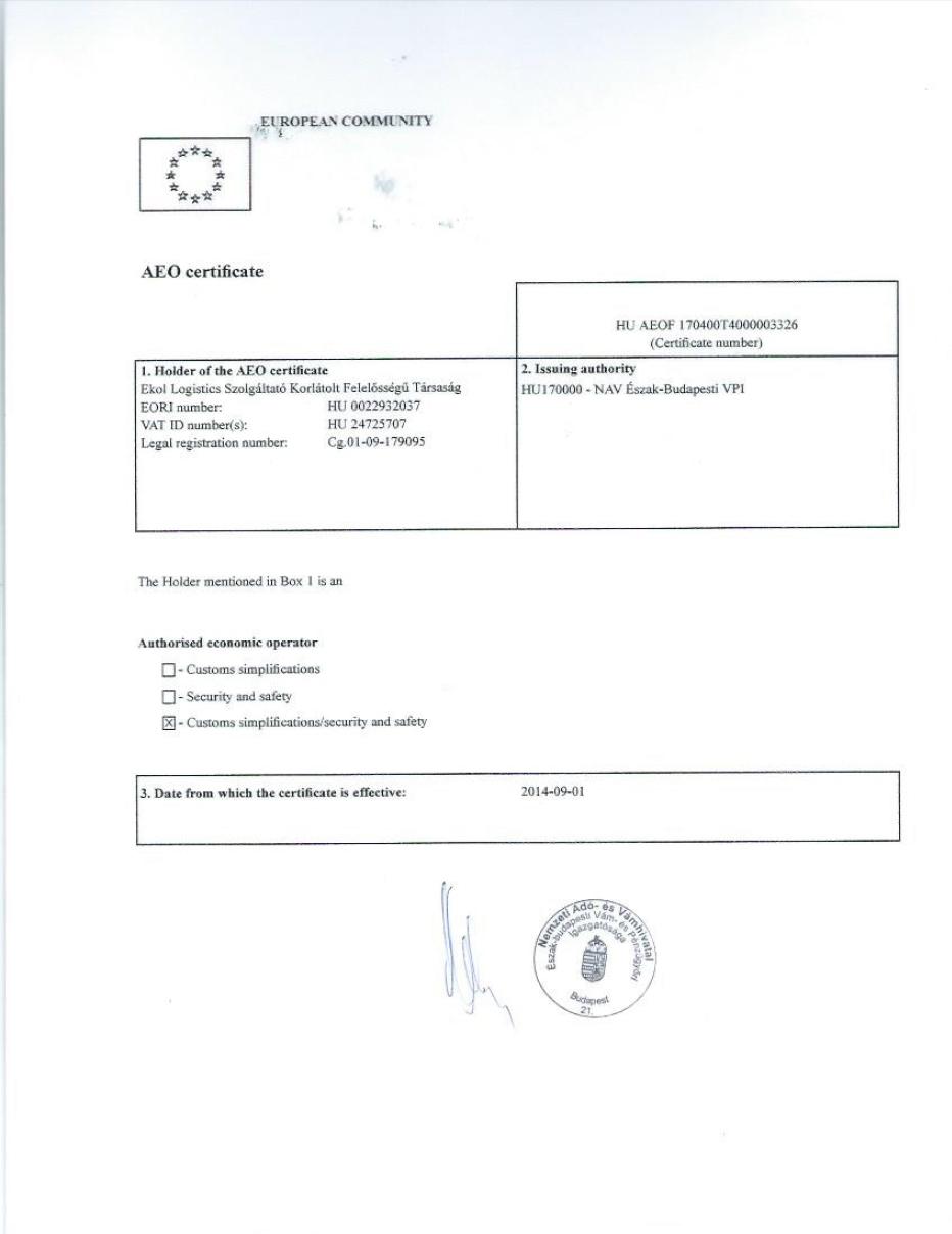 Ekol İtalya AEO Sertifikası