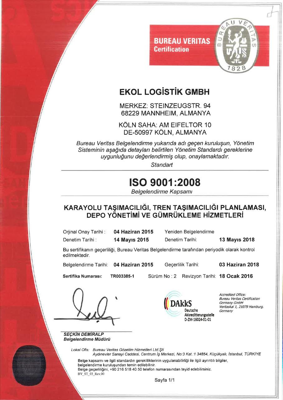 Ekol Almanya ISO 9001:2008