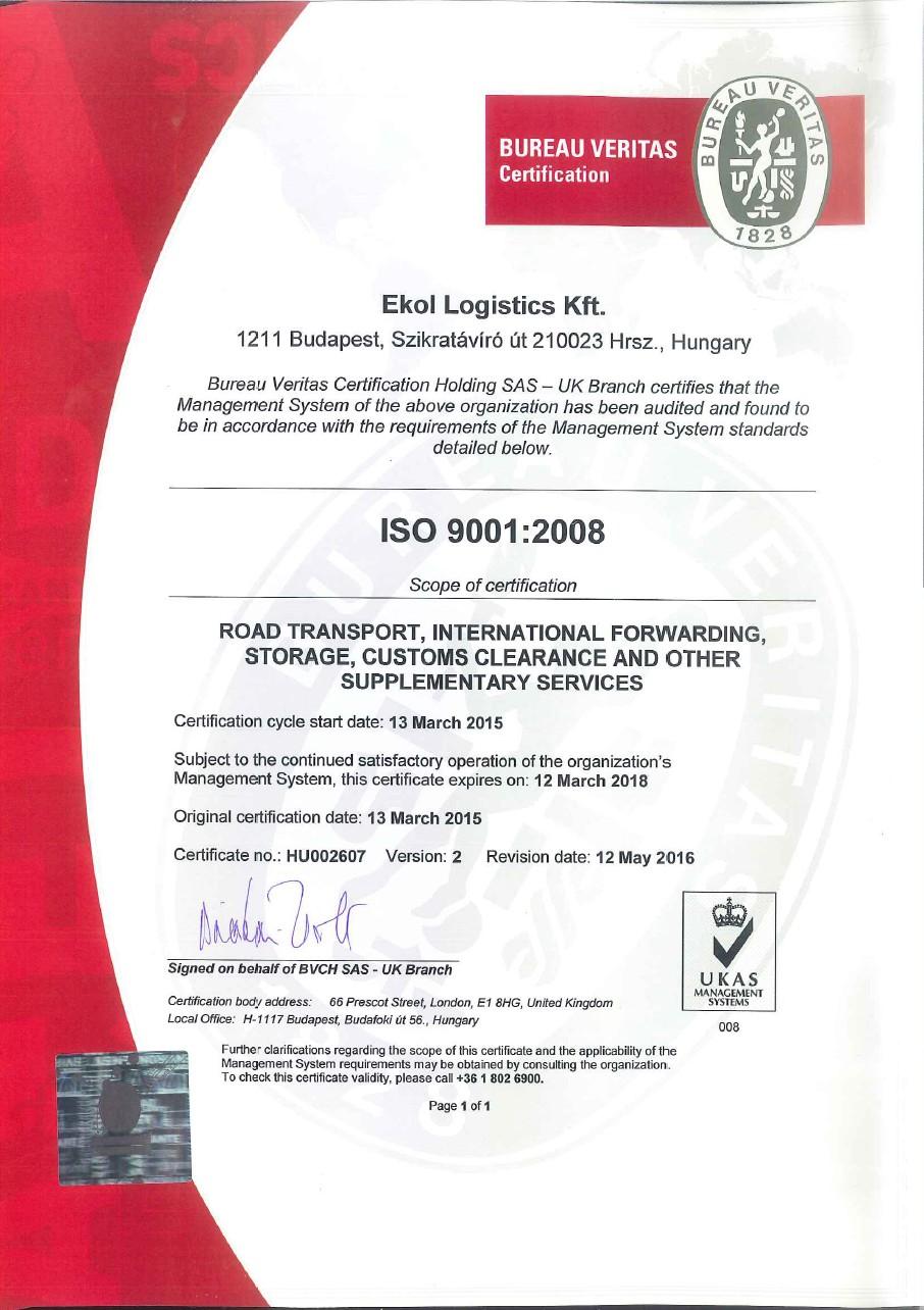 Ekol Macaristan ISO 9001:2008