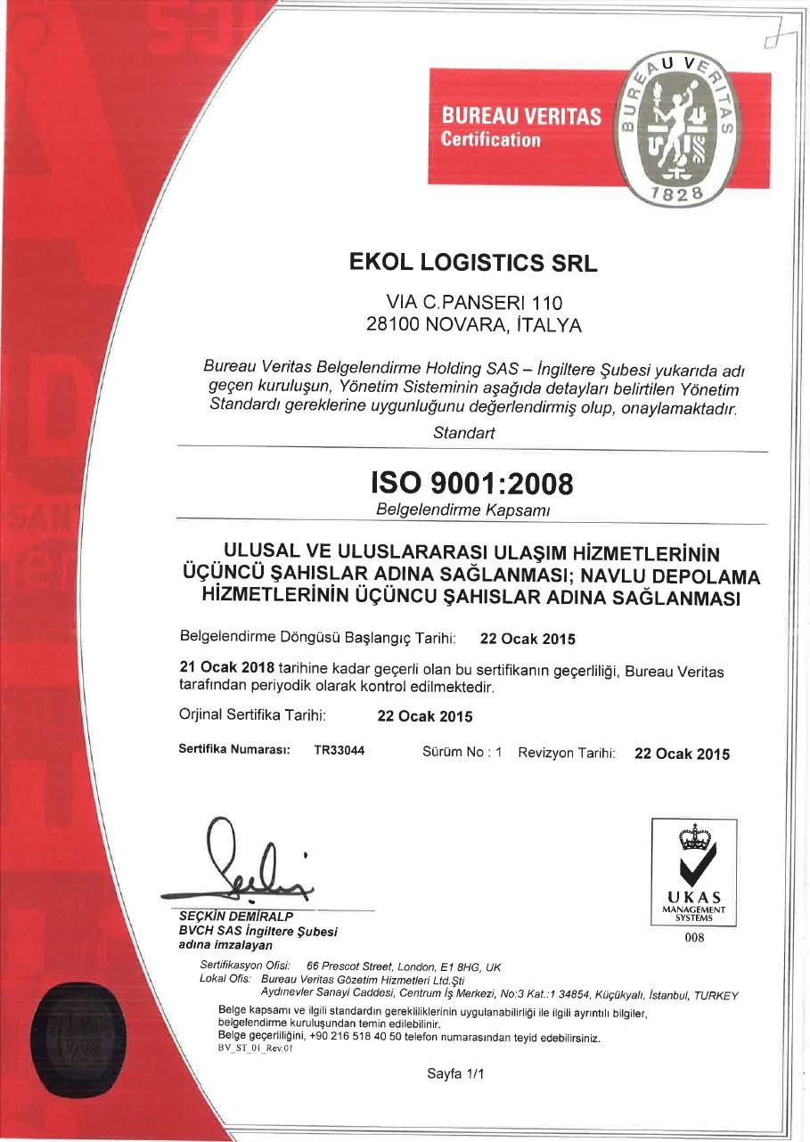 Ekol İtalya ISO 9001:2008