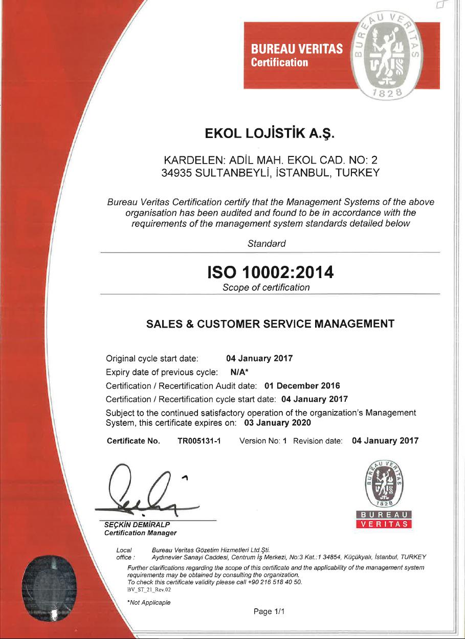 ISO 10002:2014 - Customer Satisfaction Complaints Handling