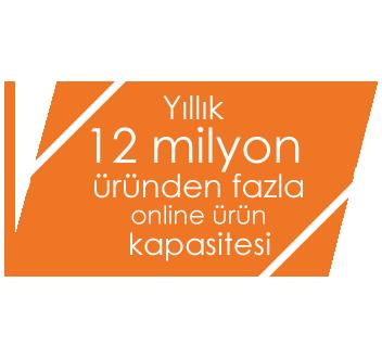 Yıllık 12 milyon üründen fazla online ürün kapasitesi