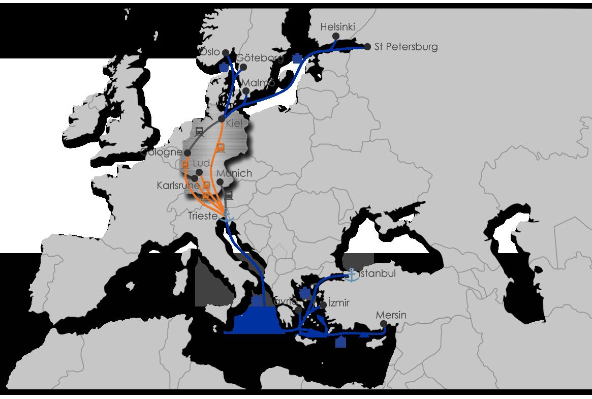 Ekol Germany - Intermodal Map