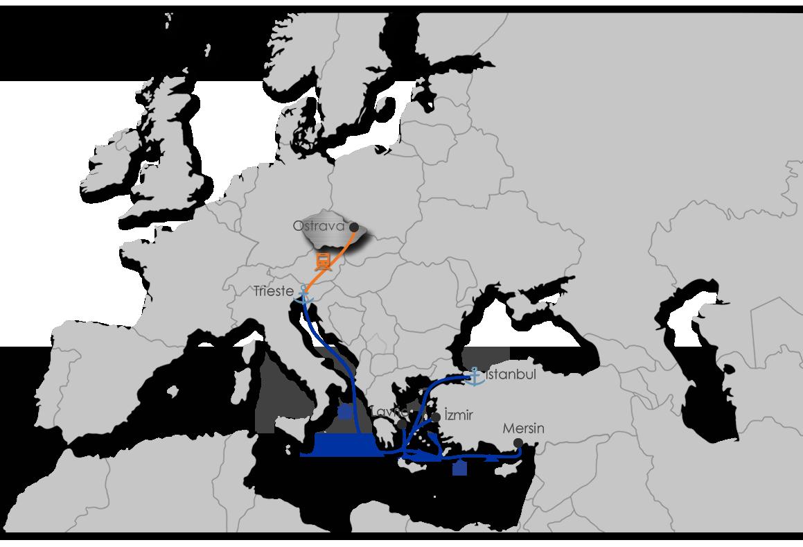 Intermodal Transport Map - Ekol Czechia