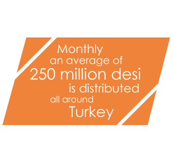 monthly an average of 250 million desi is distributed all around Turkey
