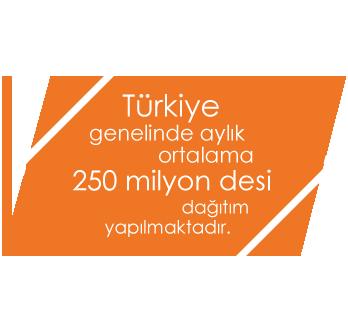 Türkiye genelinde aylık ortalama 250 milyon desi dağıtım yapılmaktadır.