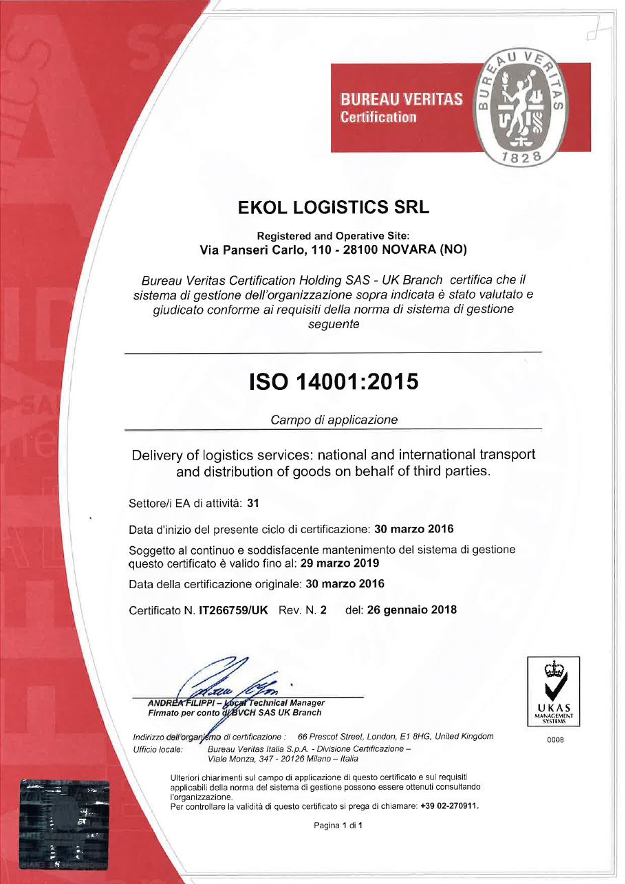ISO 14001:2015 Ekol İtalya
