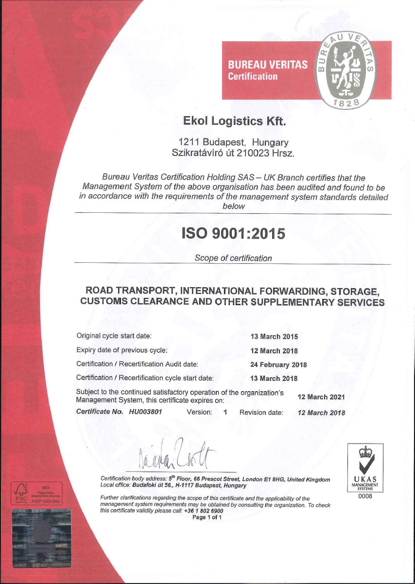 ISO 9001:2015 Ekol Hungary