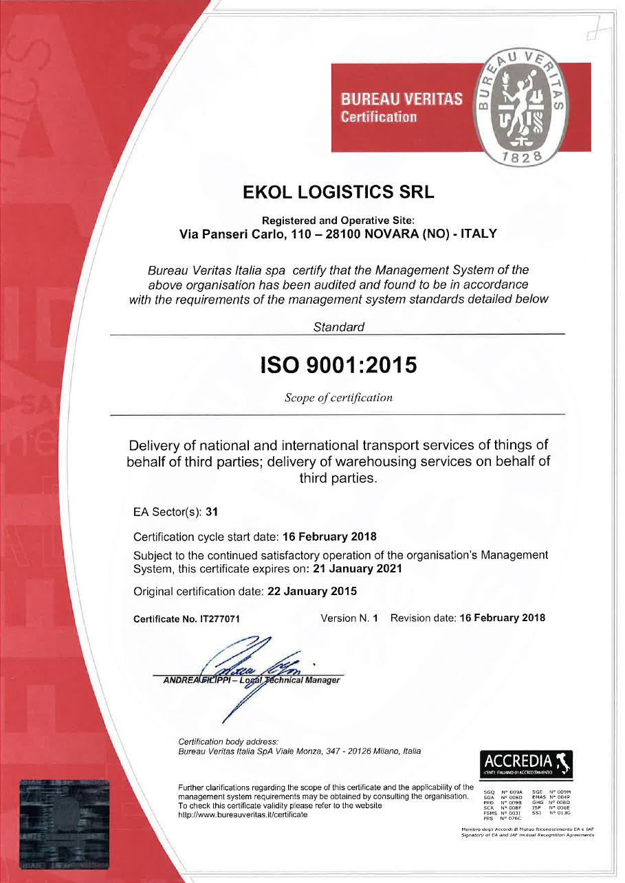 ISO 9001:2015 Ekol Italy