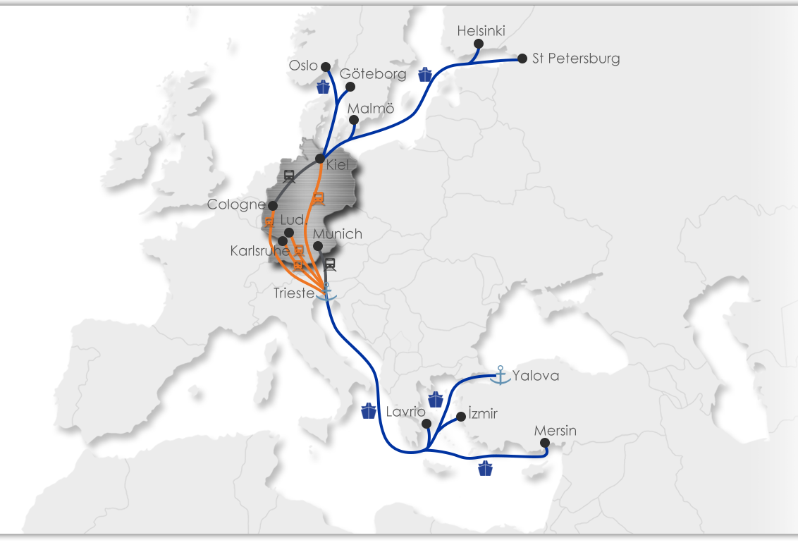 Ekol Germany Intermodal Map