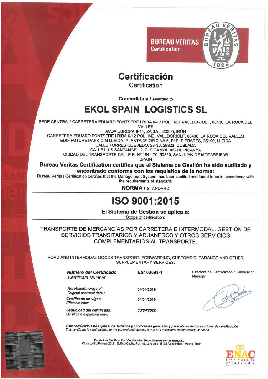 Ekol Spain ISO 9001:2015
