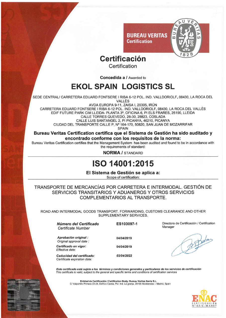 Ekol Spain 14001:2015