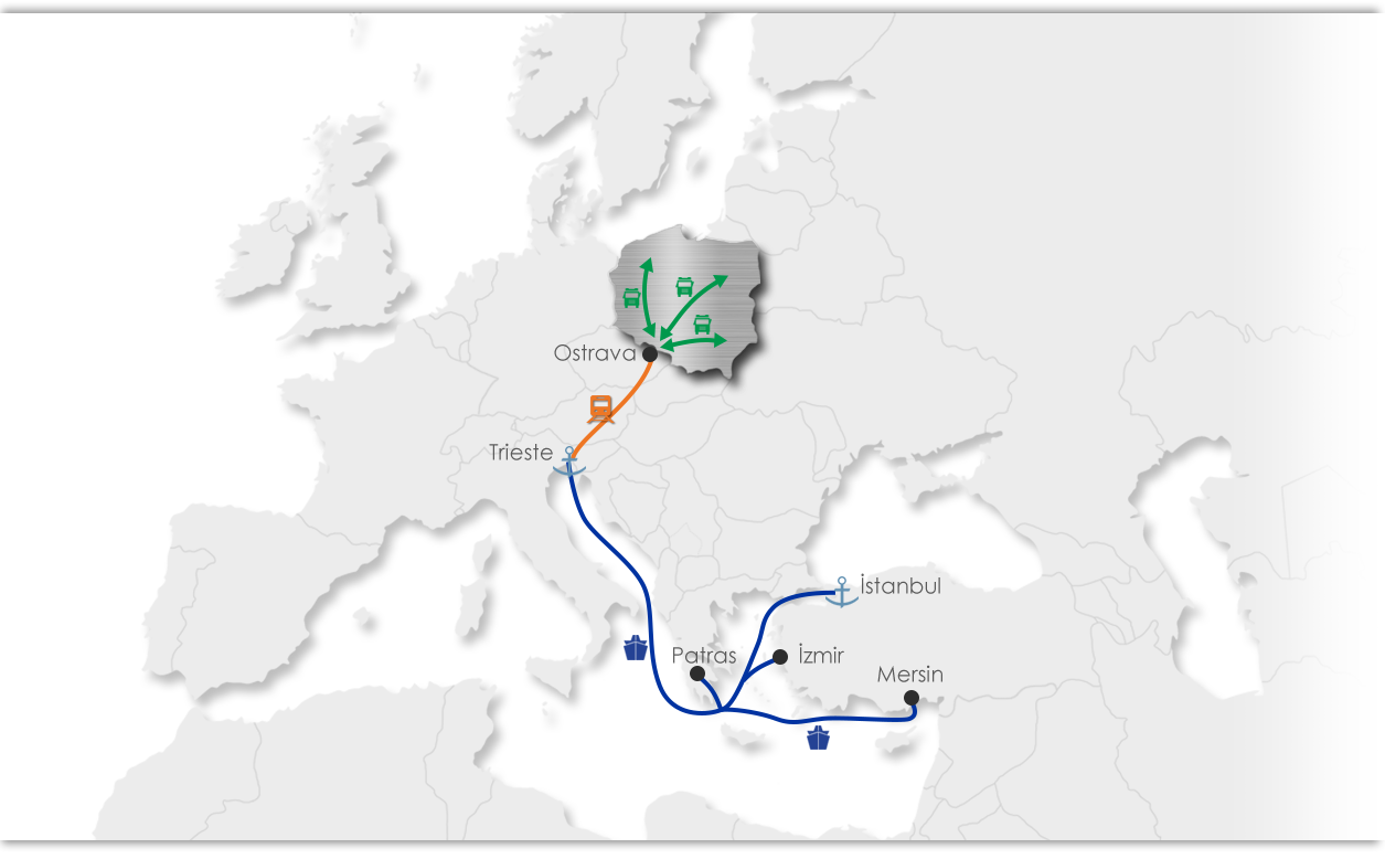 Ekol Poland Intermodal Map