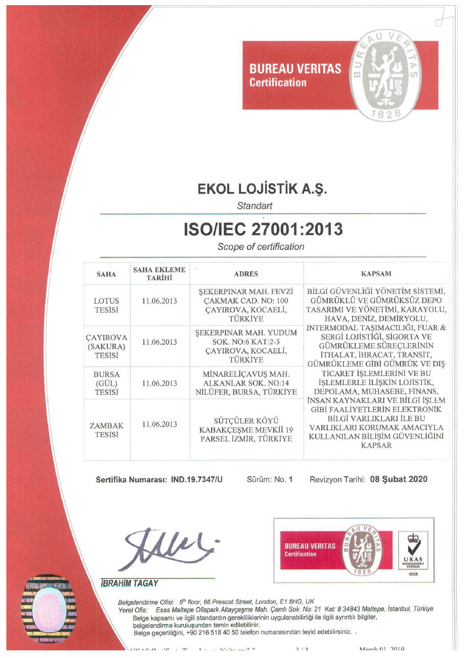 ISO/IEC 27001:2013 Bilgi Güvenliği Sertifikası