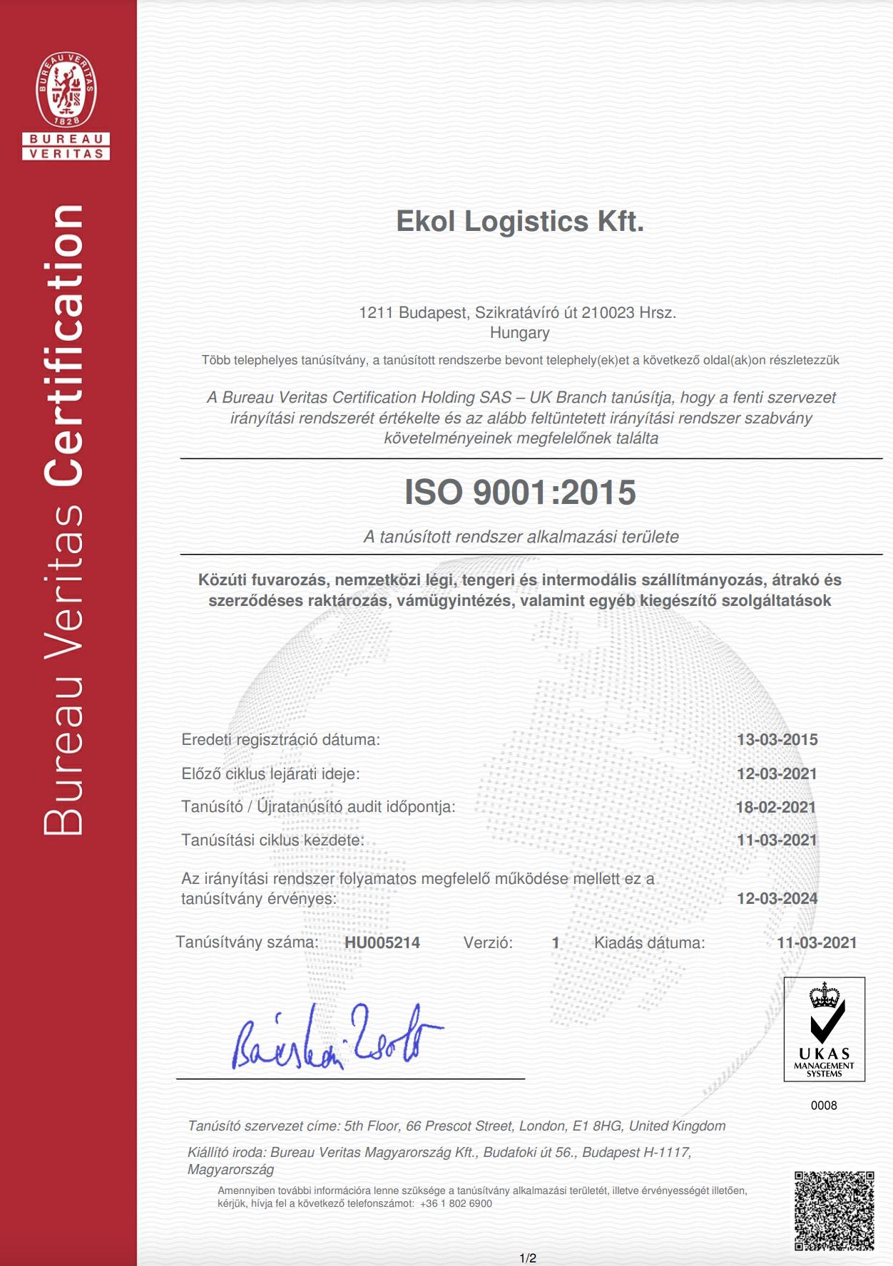 Ekol Hungary - Ekol Macaristan ISO 9001:2015